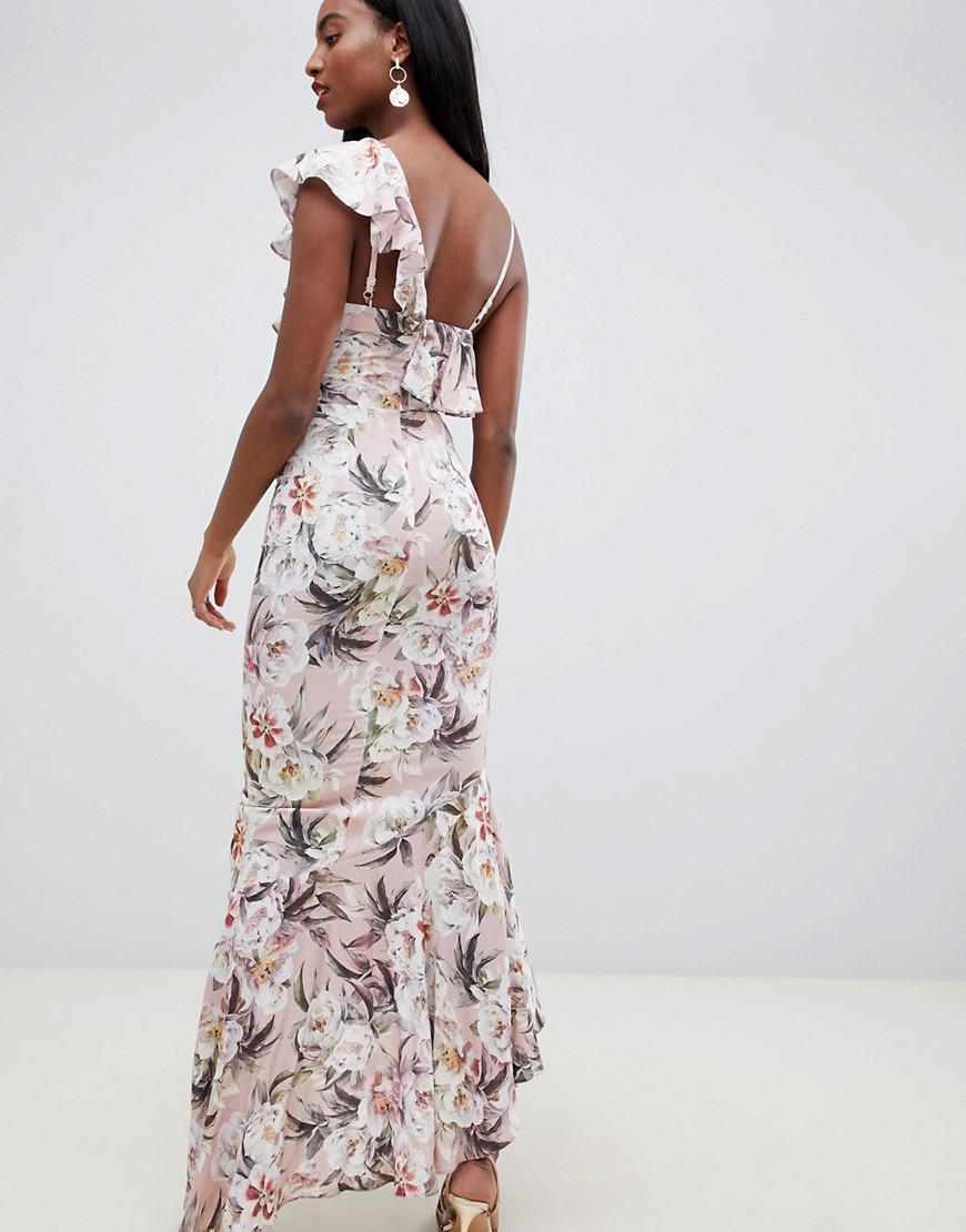 262160a15cd12 Asos Petite Floral Print Ruffle Maxi Dress – DACC