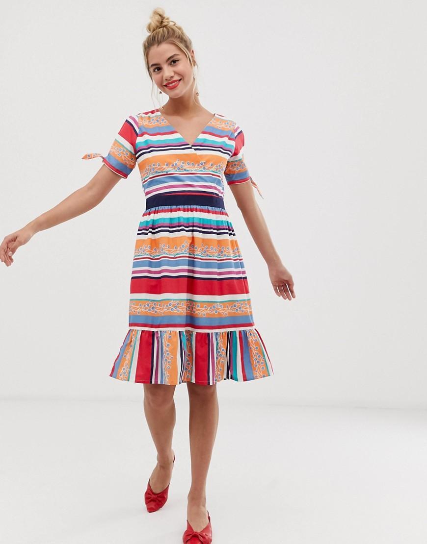 Lyst - Yumi  Skater Dress In Bold Stripe Print in Red cf9dfd3d5