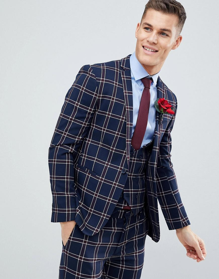 1cef93c9230b36 ASOS. Men's Blue Wedding Super Skinny Suit Jacket In Navy Waffle Check