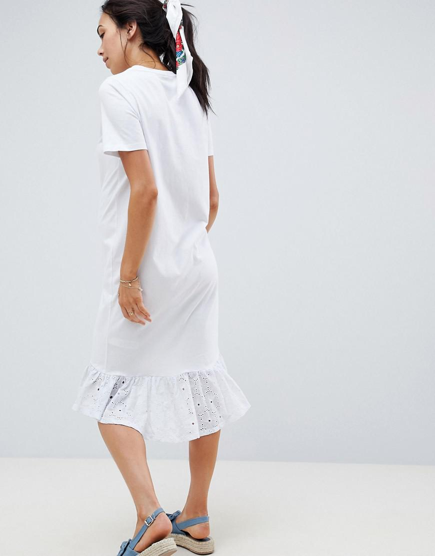 bbcbbca0abb Lyst - ASOS Asos Design Maternity Midi T-shirt Dress With Broderie Drop Hem  in White
