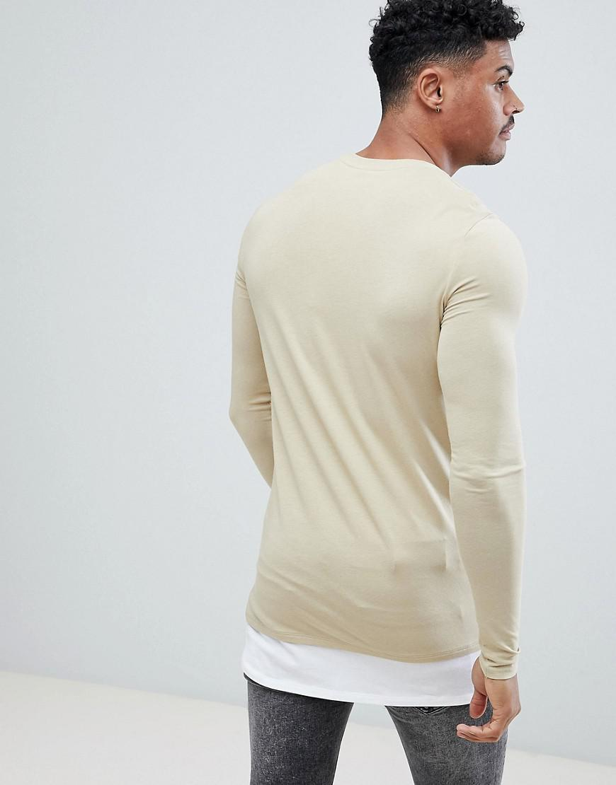 02c40f05 Lyst - ASOS Longline Long Sleeve Muscle Fit T-shirt With Crew Neck With Contrast  Hem Extender In Beige in Natural for Men