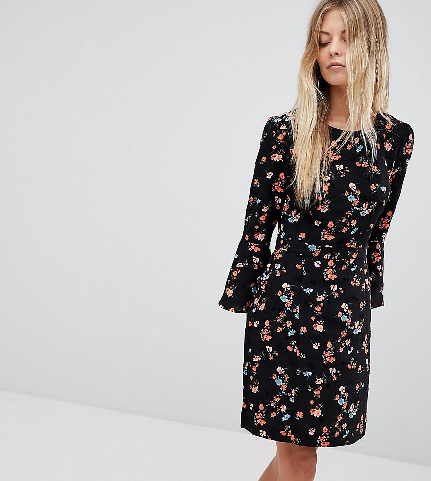 87fc4e900331 Oasis Floral Printed Fluted Sleeve Midi Dress in Black - Lyst