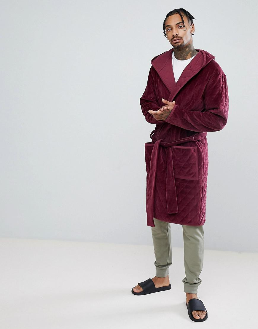 Asos Design Asos Hooded Robe Quilted In Velour in Red for Men - Lyst