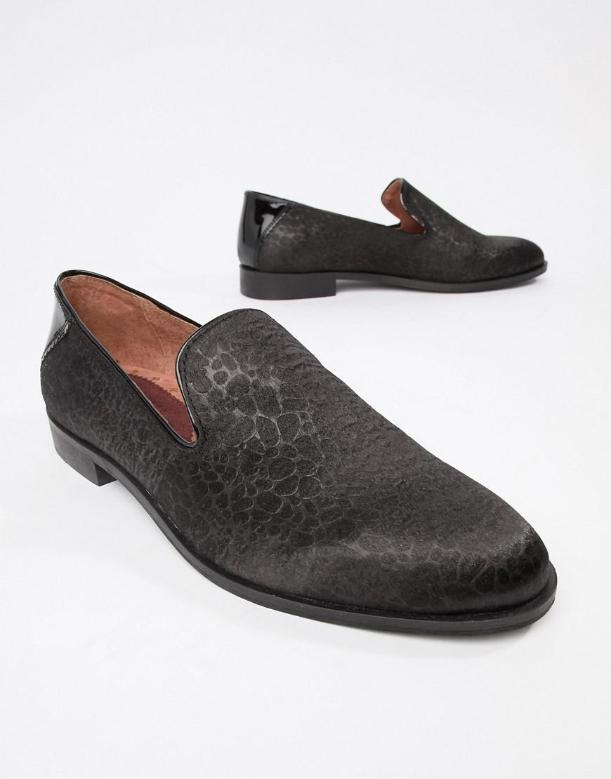 104eb045487 House Of Hounds Wide Fit Hawk Loafers In Black Pebble in Black for Men -  Lyst