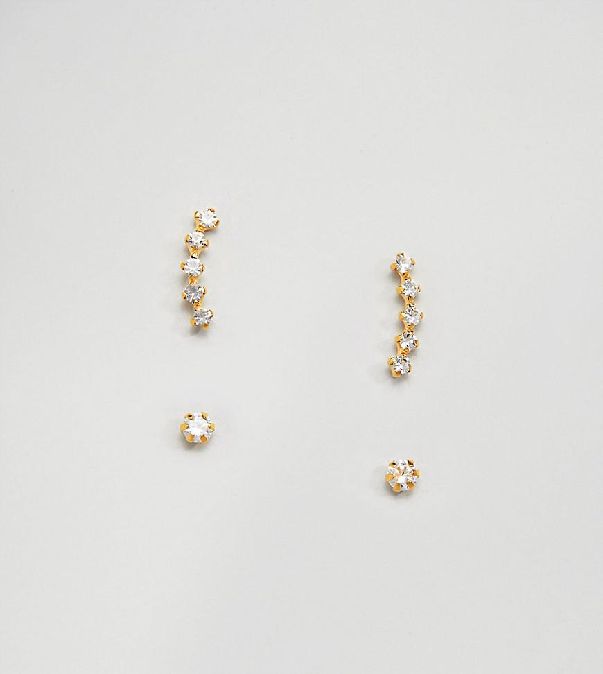94074cfa9 Lyst Kingsley Ryan Gold Plated Rhinestone Climber And Stud. Womens Gold  Plated Diamond Accent Hoop Stud Earrings Set