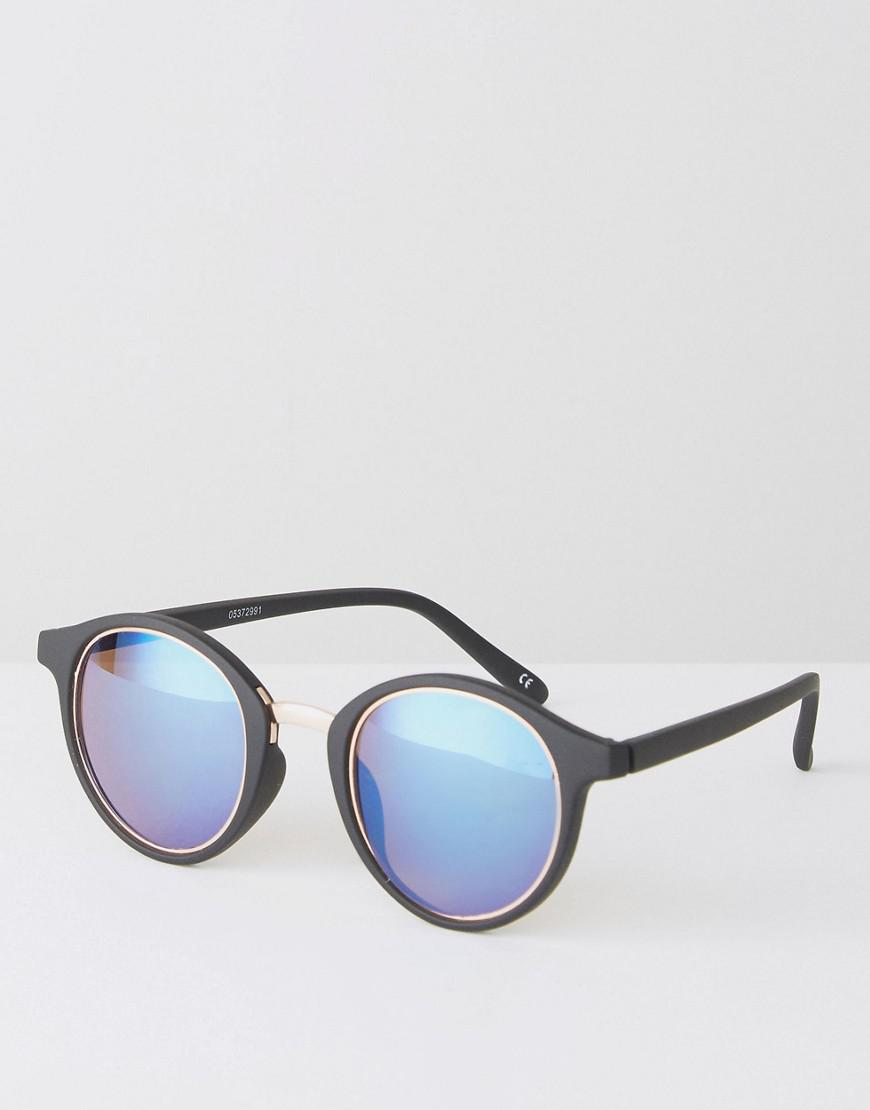 b450370f84 Lyst - ASOS Round Sunglasses In Black With Gold Inlay in Black for Men