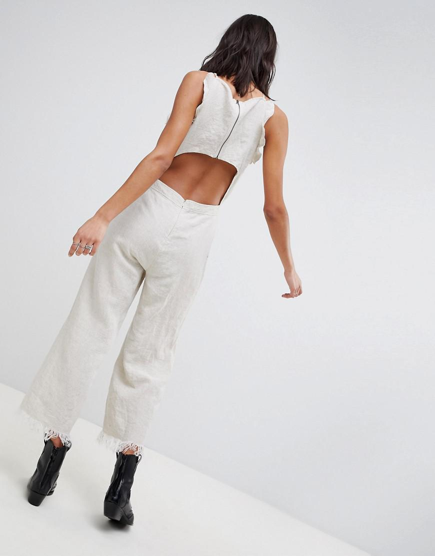 bee49967eda Lyst - Blank NYC Festival Crop Linen Jumpsuit in White