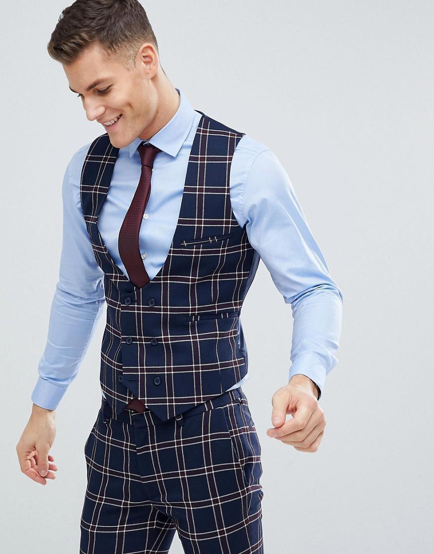 da8774116 Lyst - ASOS Wedding Super Skinny Suit Waistcoat In Navy Waffle Check ...
