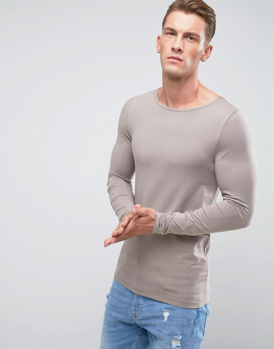 96f87eff ASOS Extreme Muscle Long Sleeve T-shirt With Boat Neck In Beige in ...