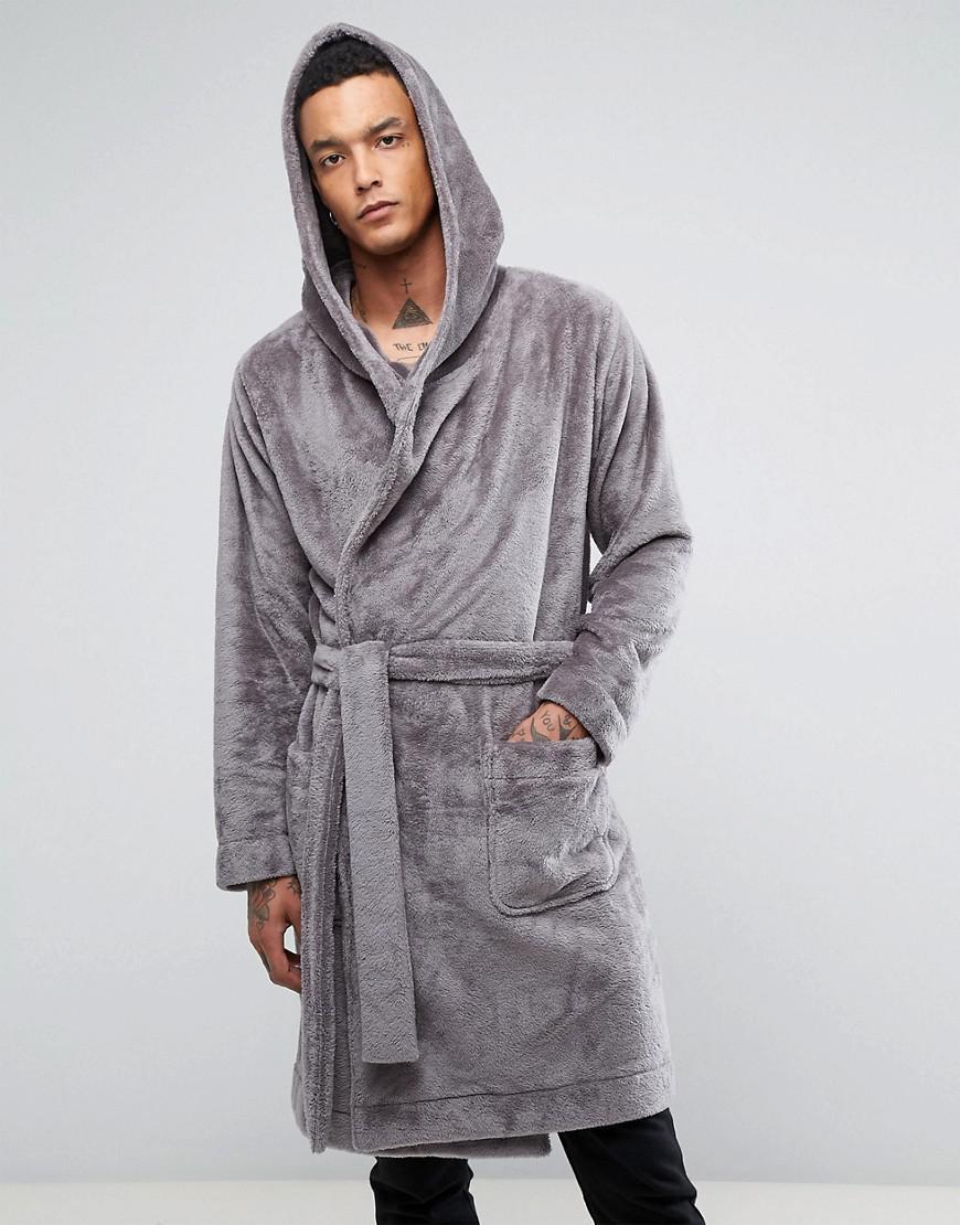 ASOS Fleece Hooded Dressing Gown in Gray for Men - Lyst dbe65e515