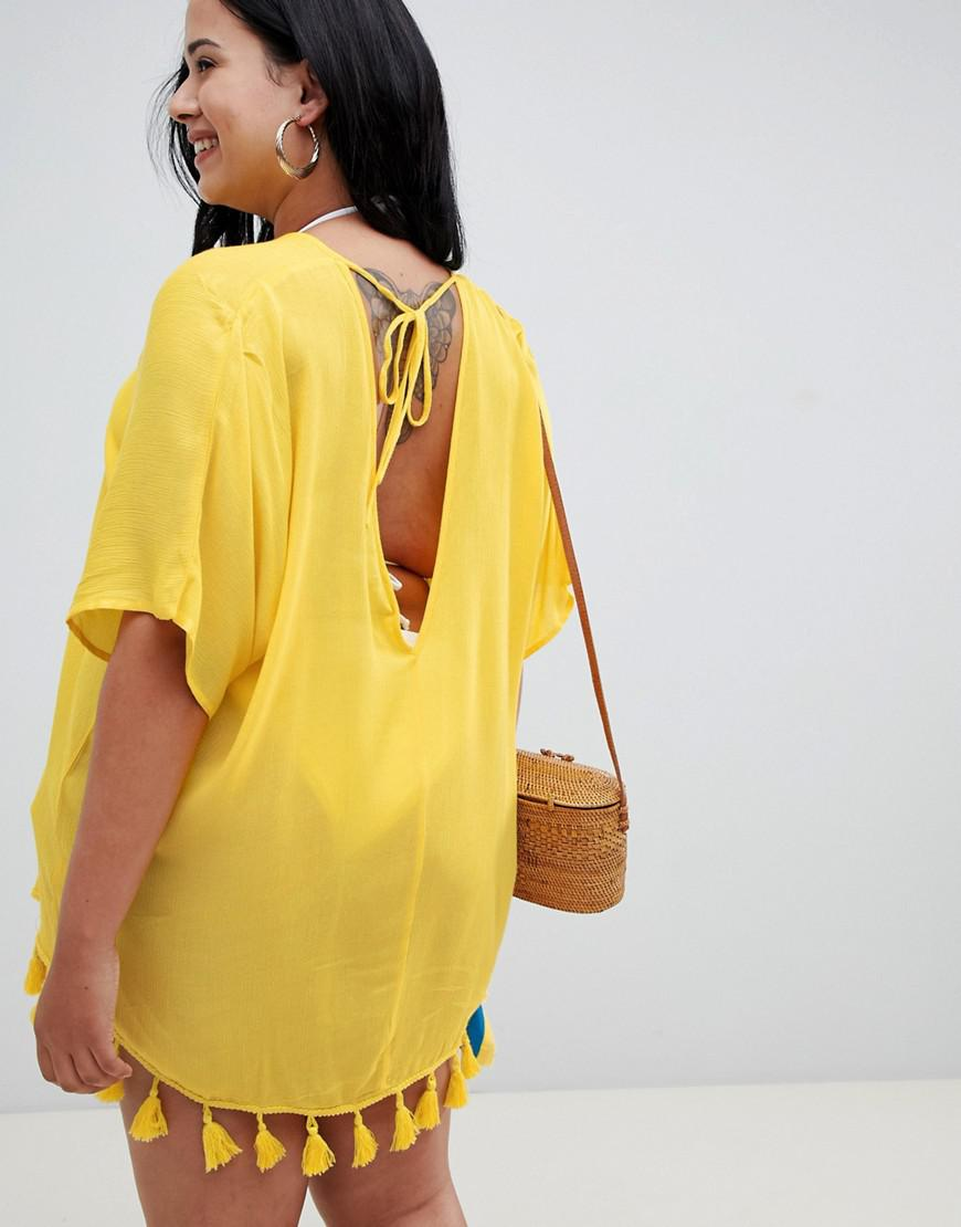 935555bce2c36 Asos Asos Design Curve Tassel Fringed Beach Kaftan Cover Up in Yellow - Lyst