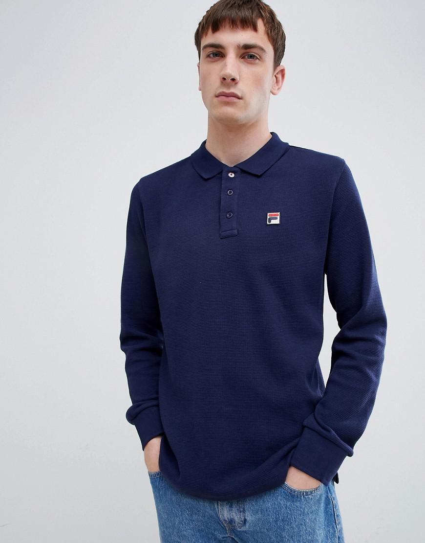 52588a53d4 Lyst - Fila White Line Bertoni Long Sleeve Polo Shirt In Navy in ...