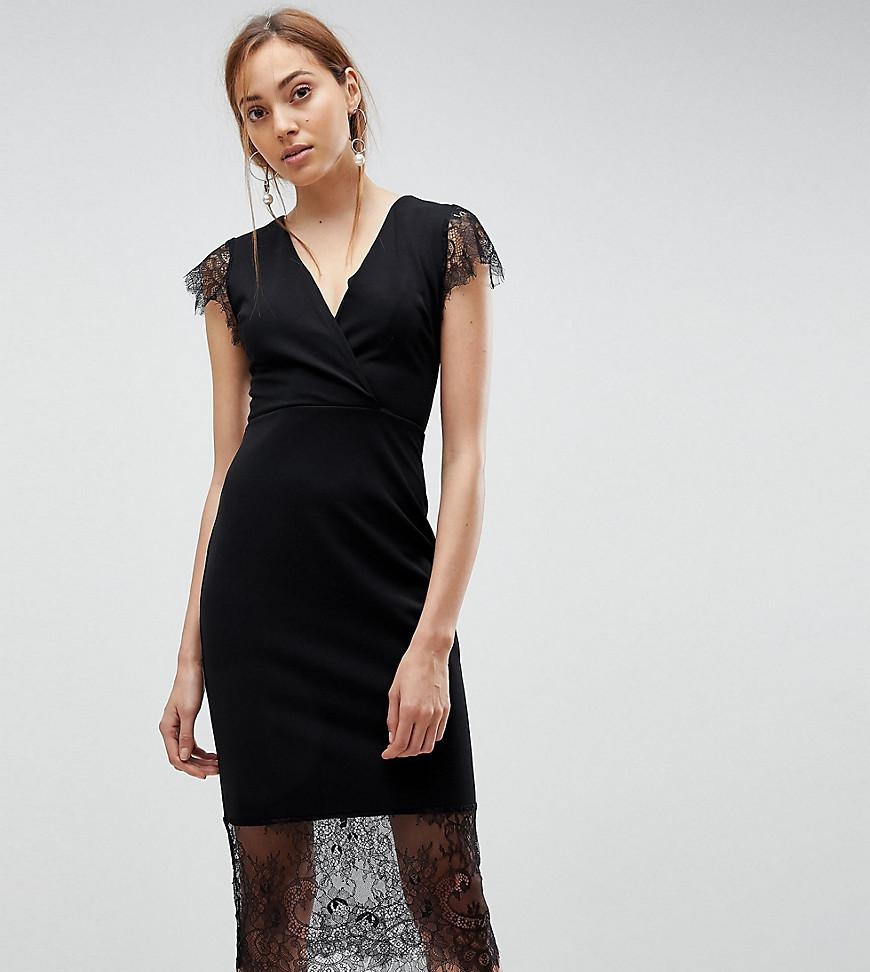 2a168b2e447c ASOS Pencil Dress With V Neck And Lace Sleeves And Hem in Black - Lyst