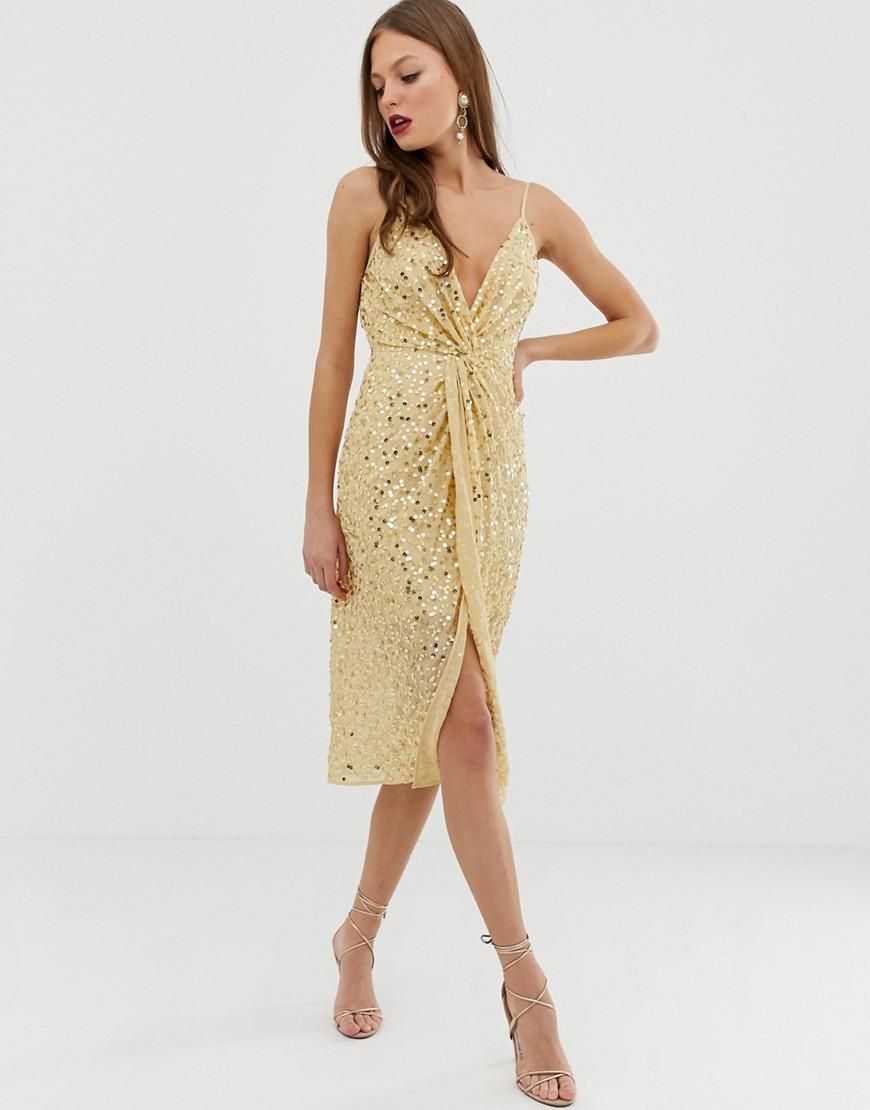 ASOS. Women s Metallic Midi Strappy Cami Dress With Knot Front ... 63bef3da2
