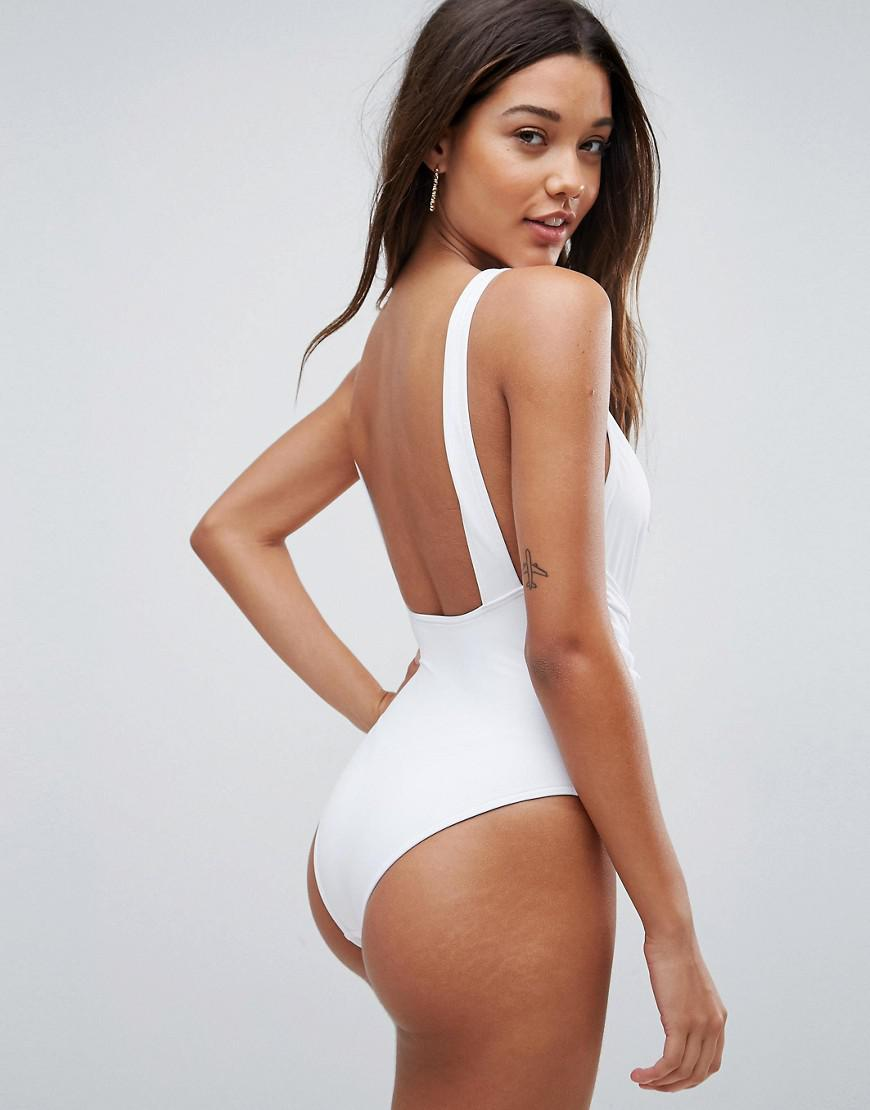 5cc261d0bef3b ASOS Recycled Plunge Ruched Front Swimsuit in White - Lyst
