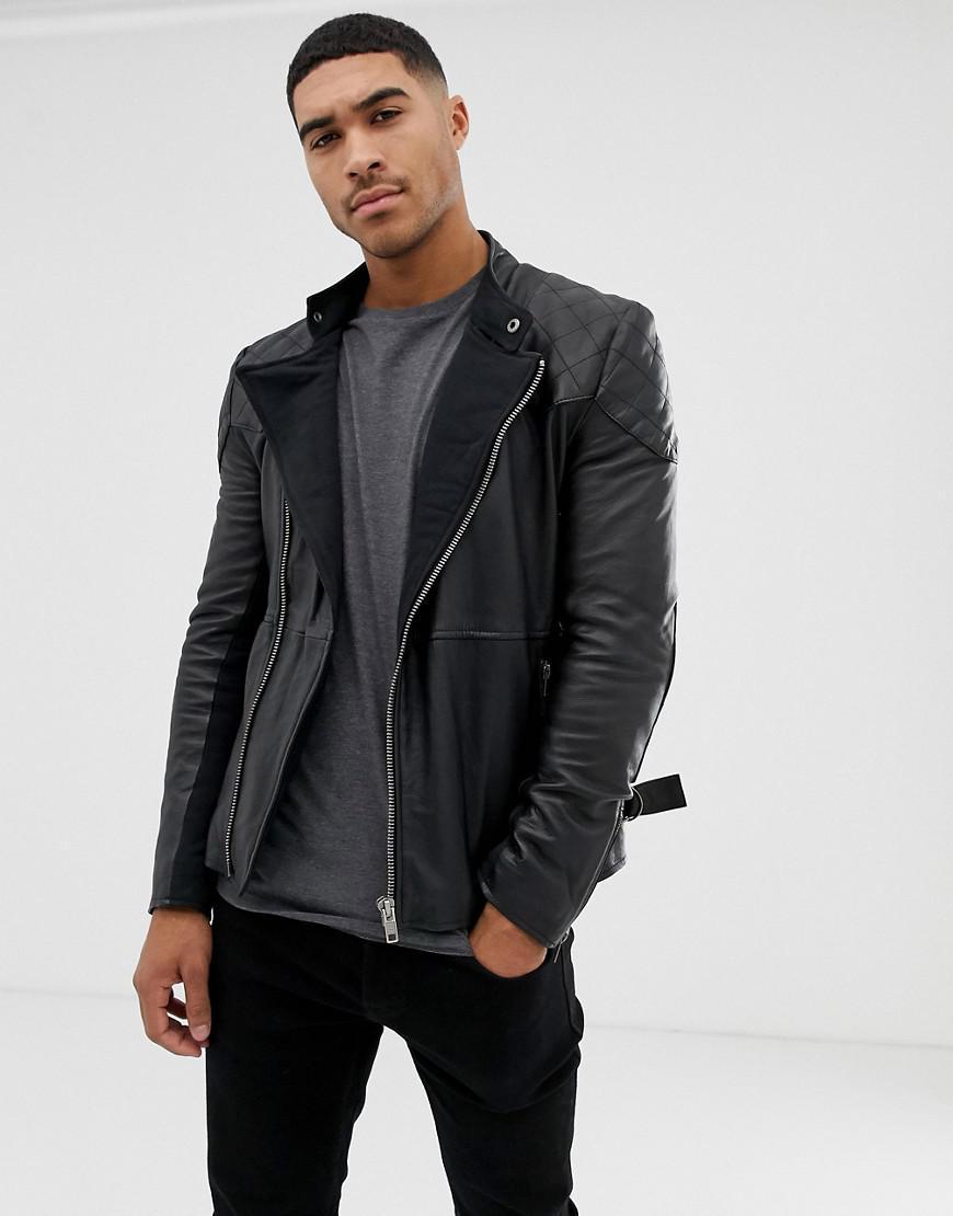 11c7f1f4bd363 Bolongaro Trevor - Black Quilted Leather Biker Jacket for Men - Lyst. View  fullscreen