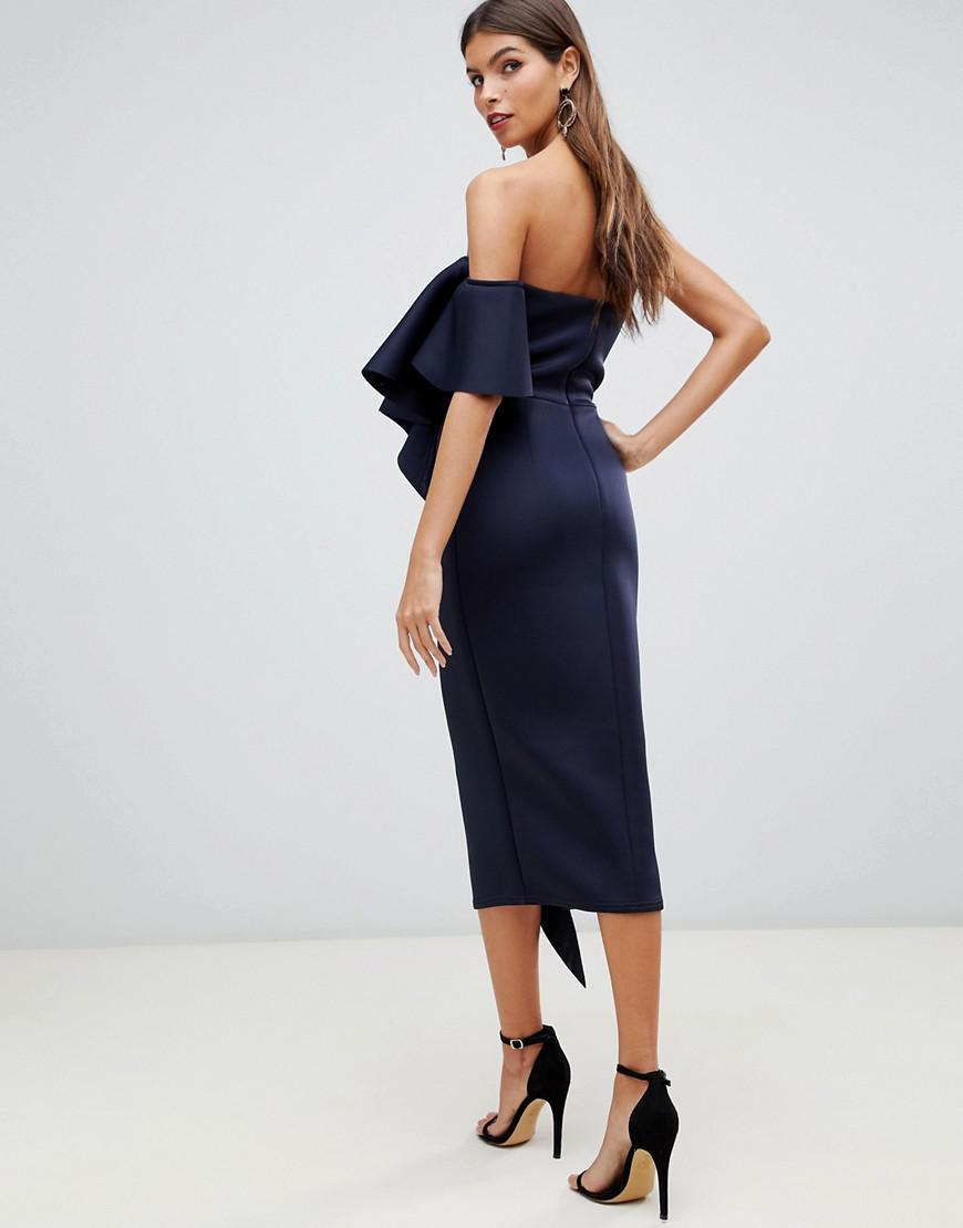 9d1576f940 Lyst - True Violet Bandeau Midi Bodycon Dress With Frill Detail In Navy in  Blue