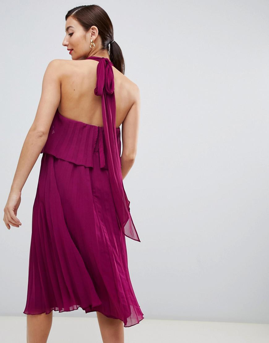 94e66433ce Asos Asos Design Maternity Halter Tie Neck Midi Dress In Pleat in Red -  Save 31.578947368421055% - Lyst