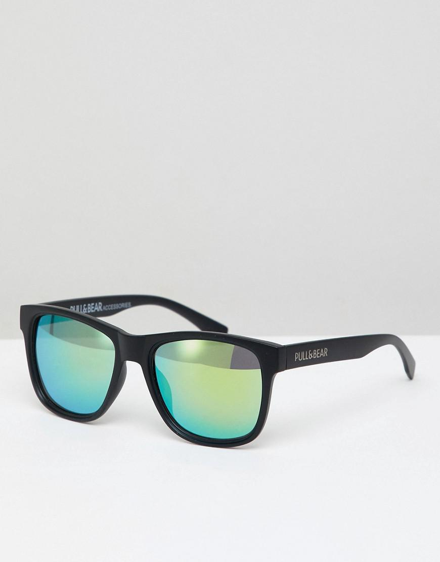 fe8022f1d7 Lyst - Pull Bear Square Sunglasses In Black With Yellow Lenses in ...
