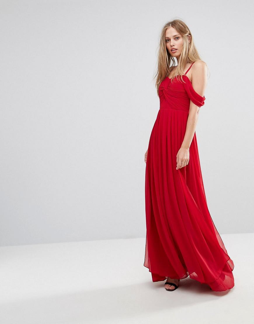 53e274467a90c Y.A.S - Red Cold Shoulder Maxi Dress - Lyst. View fullscreen