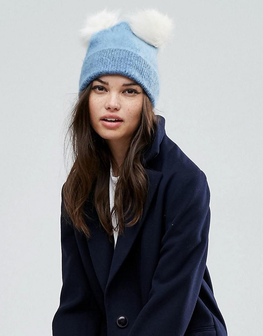 6cc21388a Lyst - Asos Fluffy Beanie With Double Faux Fur Pom in Blue