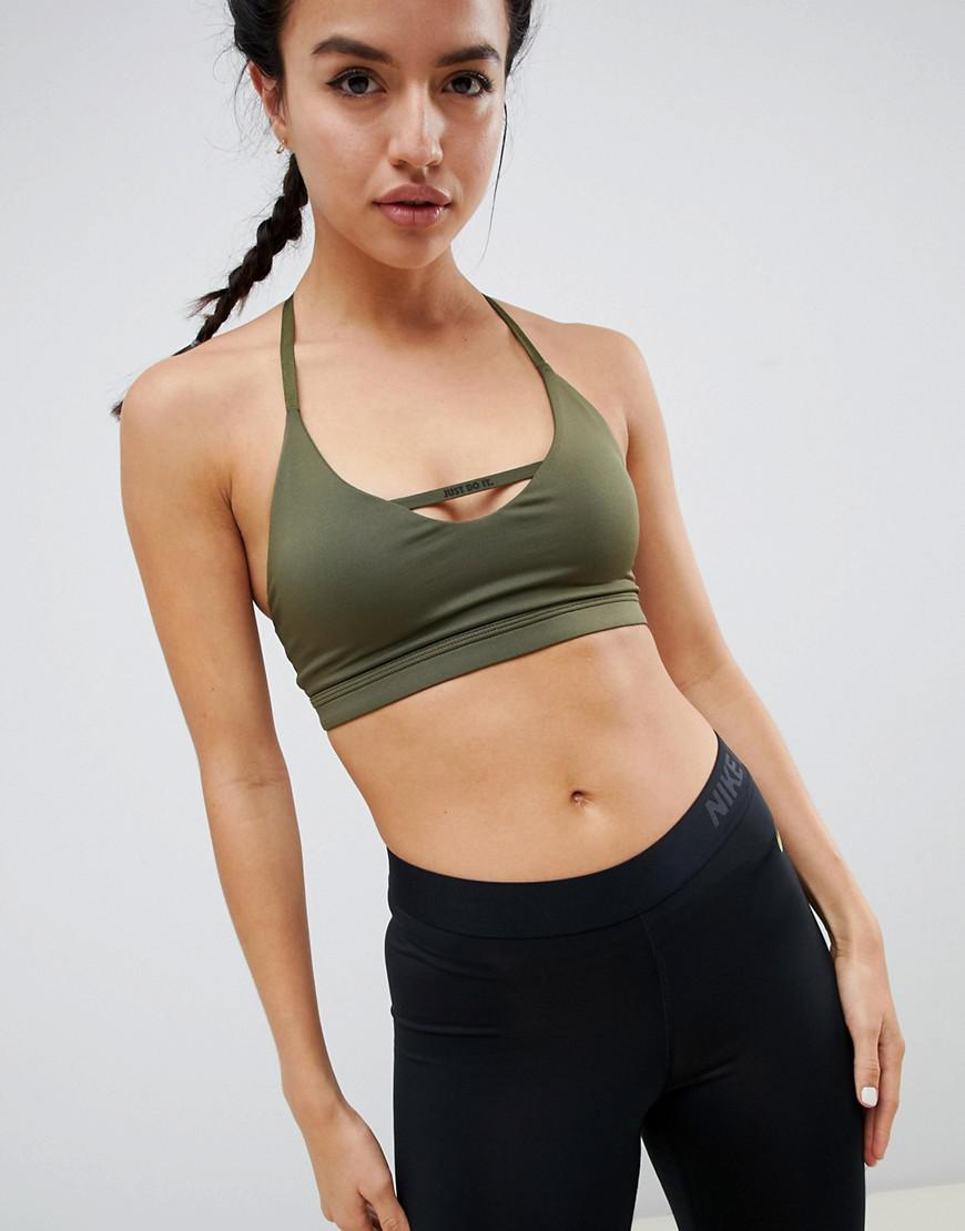73abf8c25 Nike Just Do It Bra In Khaki in Green - Lyst