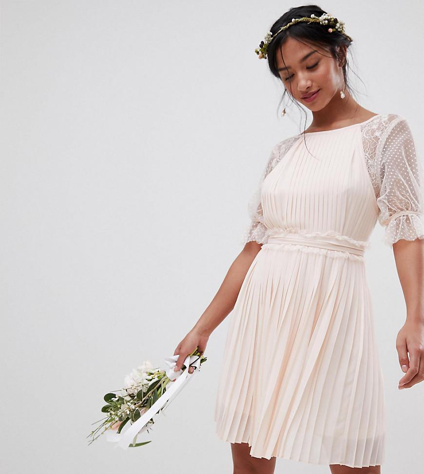 f56f4e0a633a Lyst - TFNC London Pleated Midi Bridesmaid Dress With Spot Mesh ...