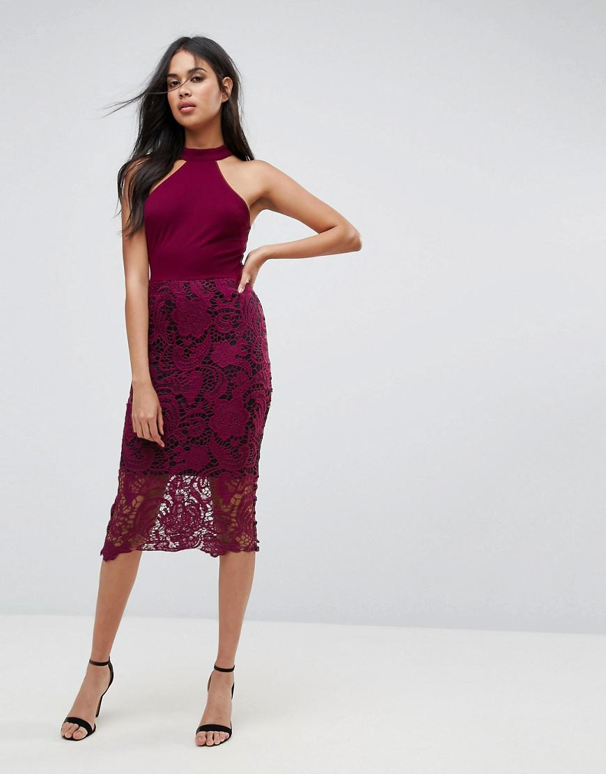 Lyst - AX Paris Racer Neck Midi Dress With Crochet Lace Skirt And ... f075900b4