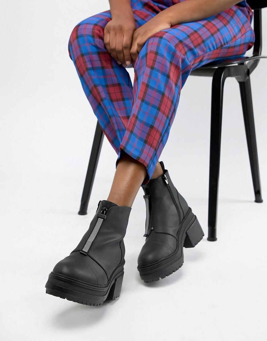 f8c6003c47f ASOS - Black Ray Chunky Zip Boots - Lyst