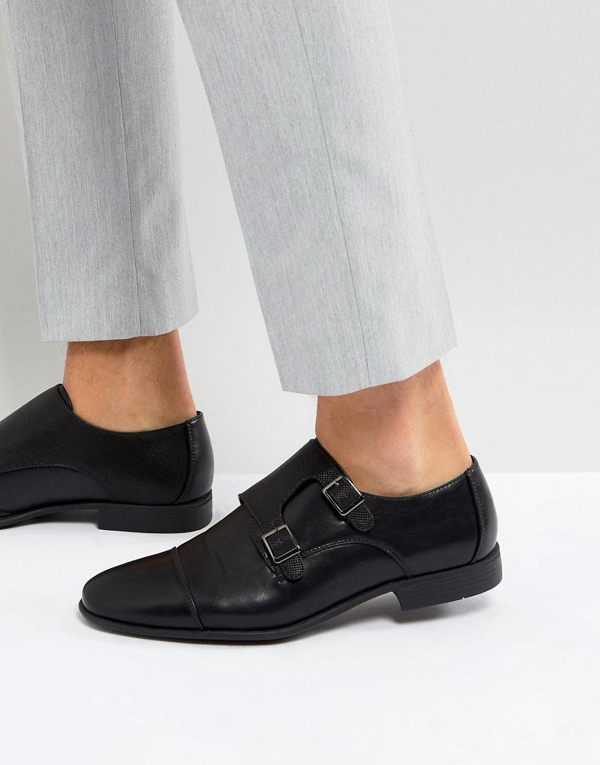 079e205a7a3 Lyst - ASOS Monk Shoes In Black Faux Leather With Emboss Panel in ...