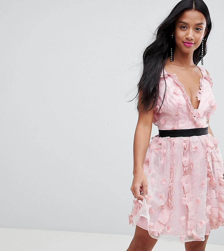 Outlet Real ASOS DESIGN Petite 3D floral mini prom dress - Pink Asos Petite Find Great Online Cheap Sale For Cheap Very Cheap Sale Official 3ANWiNR