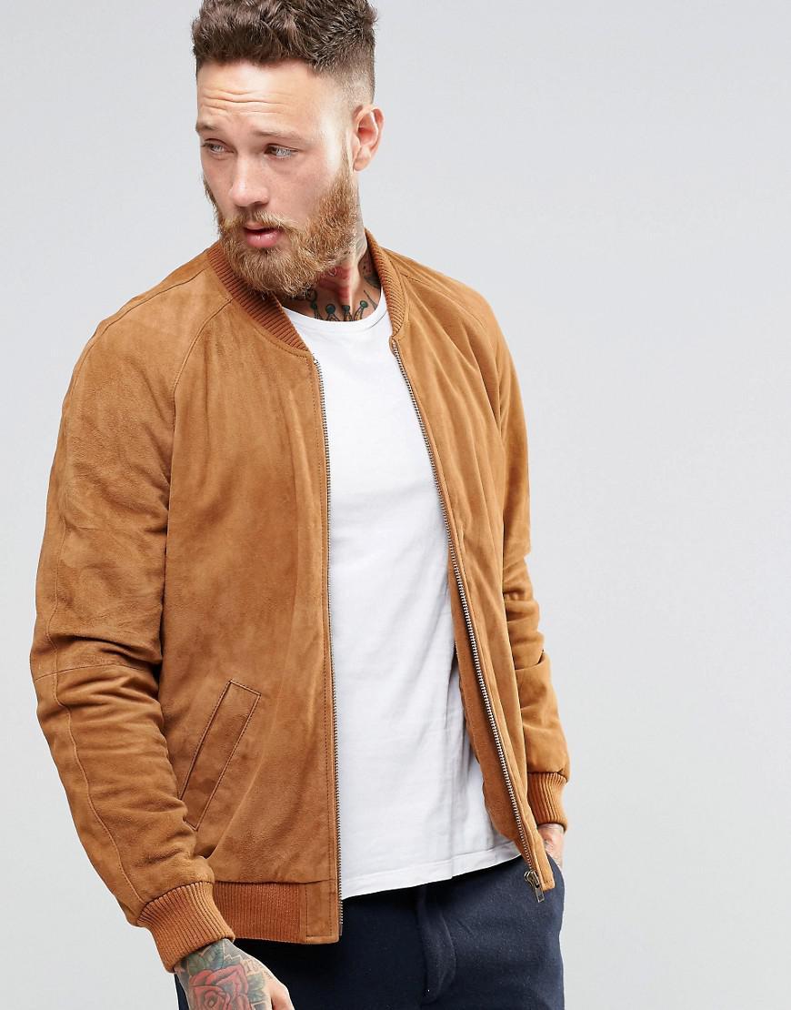 Lyst Asos Suede Bomber Jacket In Tan In Brown For Men
