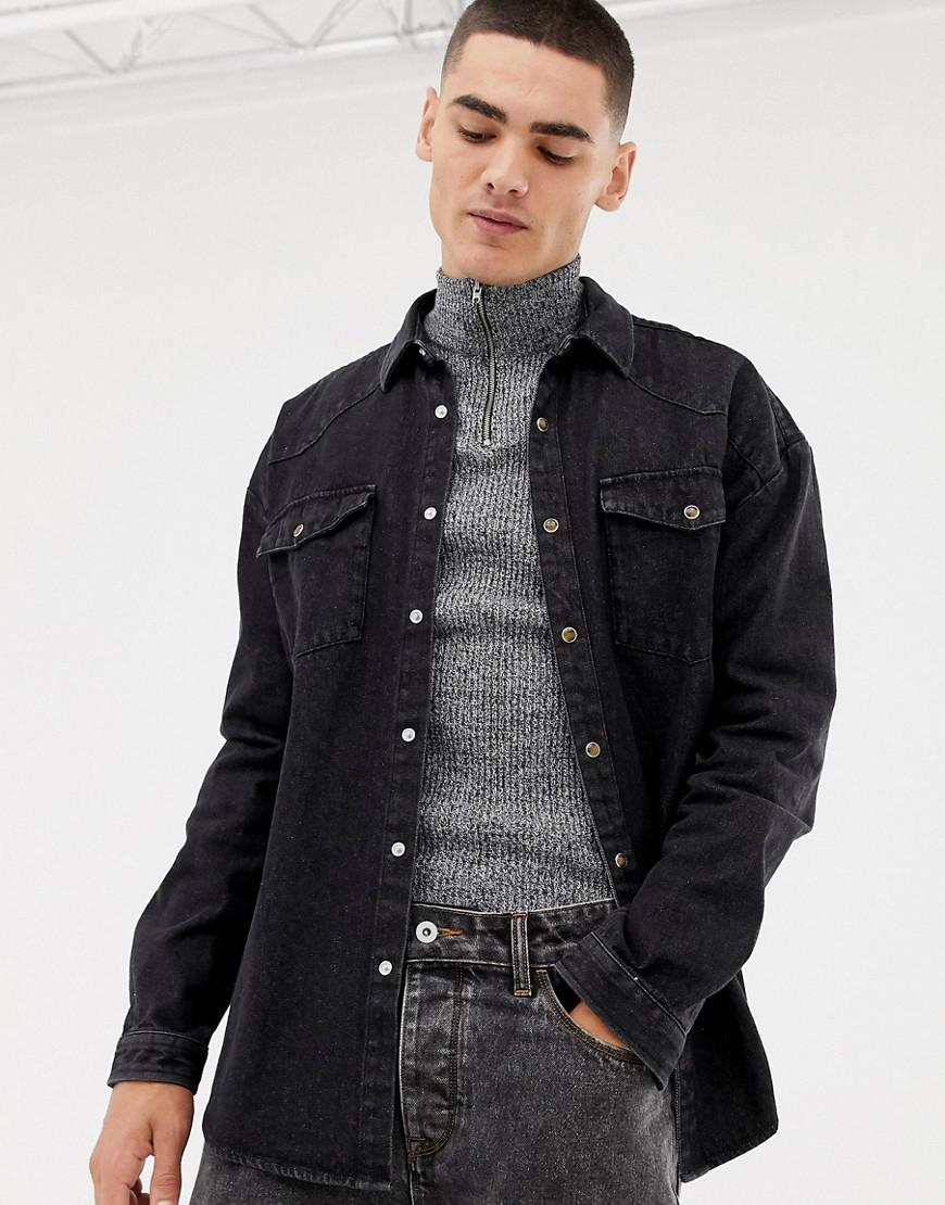 12099e0287b Collusion - Oversized Western Denim Shirt In Washed Black for Men - Lyst.  View fullscreen