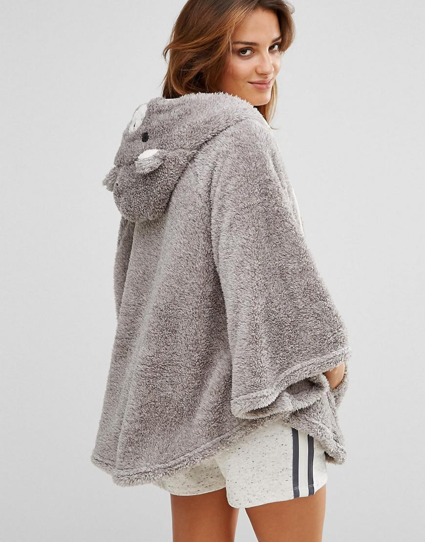 Boux Avenue Bear Cape Dressing Gown Grey In Gray Lyst