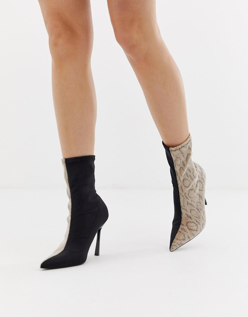 9ab3029a02a0 ASOS Esme Pointed Heeled Boots In Snake in Black - Lyst