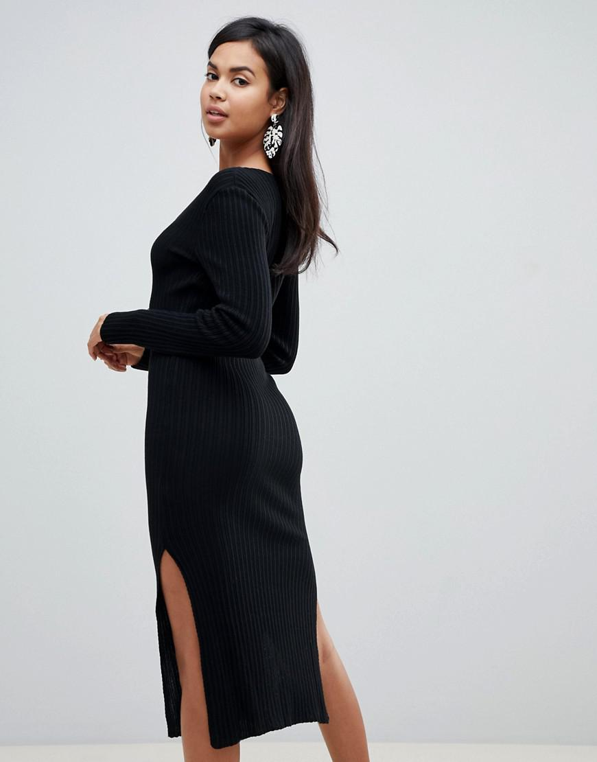 73b63d54ff1e3 ASOS Midi Dress With V-neck In Rib Knit in Black - Lyst