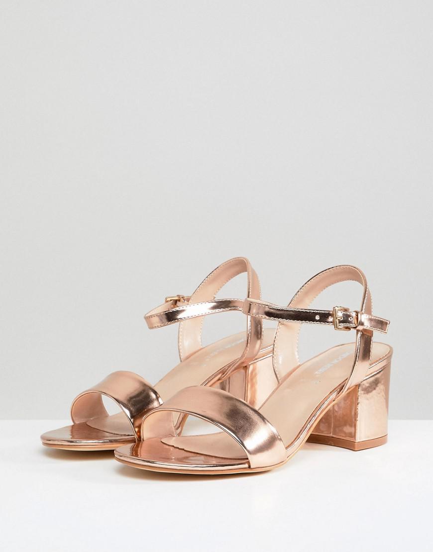 f824cfed36d London Rebel Wide Fit Block Heeled Sandals in Metallic - Lyst