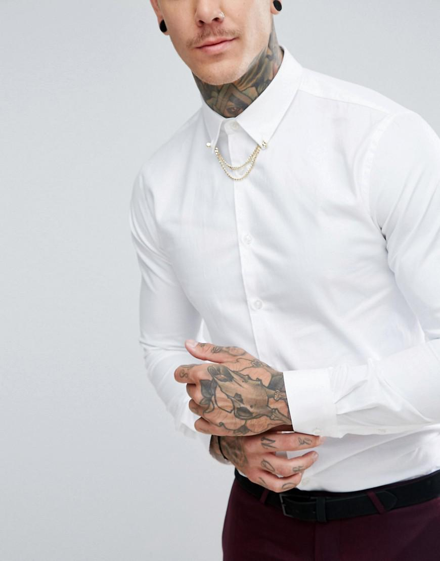 Noose And Monkey Skinny Smart Shirt With Collar Chain in