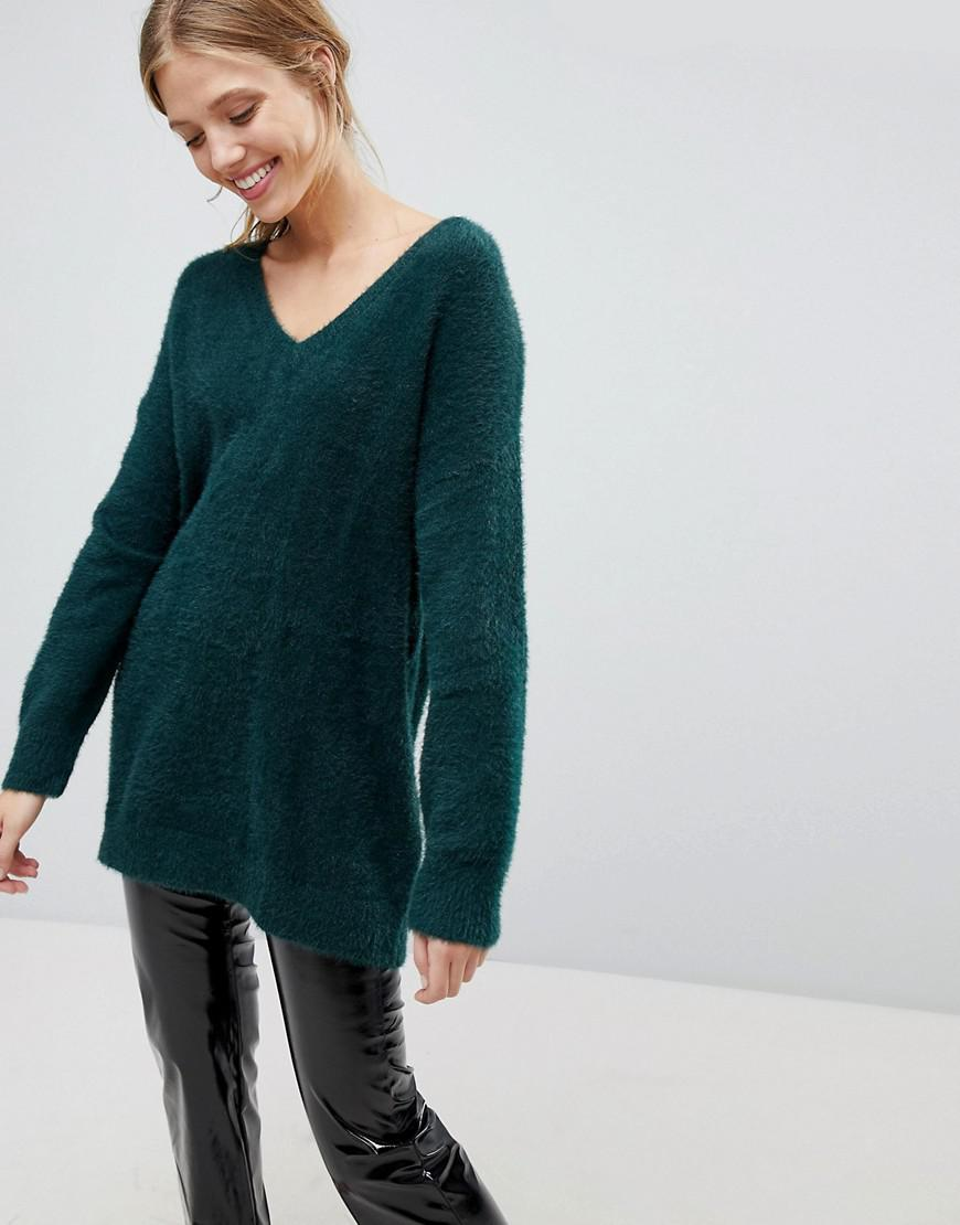 Lyst - Bershka Brushed V Neck Oversized Jumper in Green 7cfc4853f