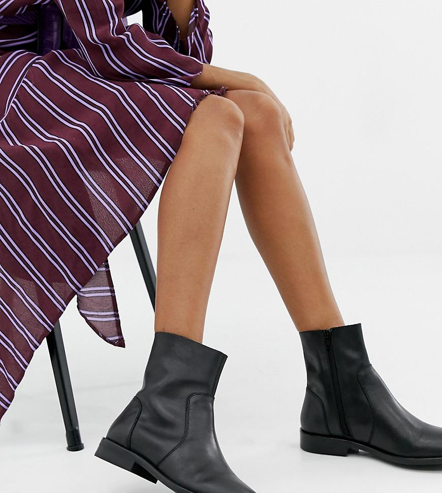 06f4776cbbf ASOS Wide Fit Albany Leather Sock Boots in Black - Lyst