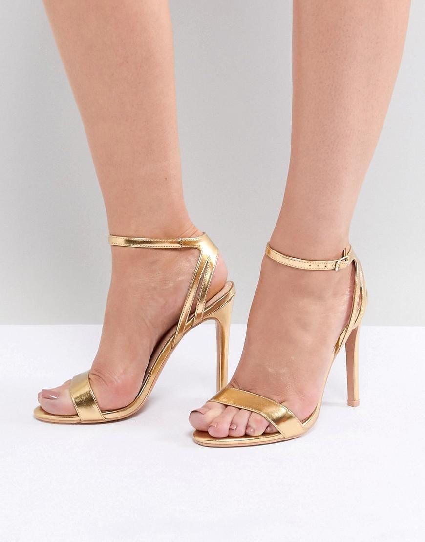 ca860e62e497a Public Desire Runaway Gold Metallic Heeled Sandals in Metallic - Lyst
