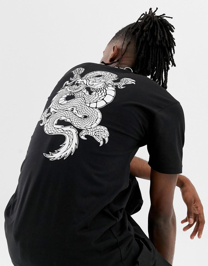 f6b78df723b92e Vans T-shirt With Dragon Back Print In Black Vn0a3hxtblk1 in Black ...