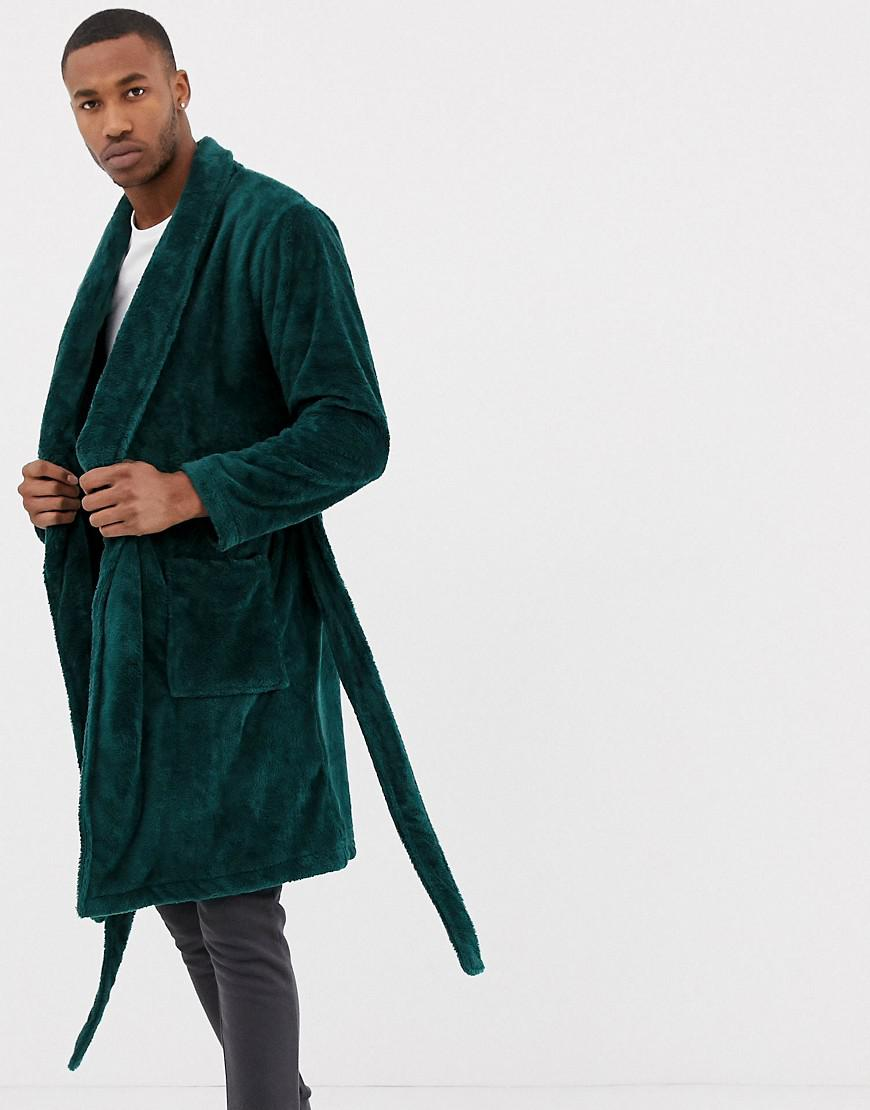 Asos Fluffy Dressing Gown In Emerald Green In Green For Men Lyst