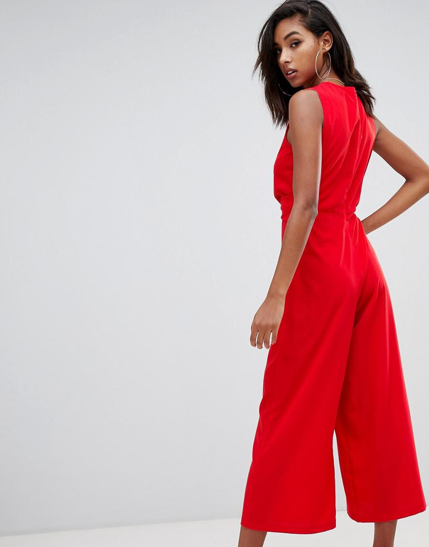 7efd767484 Lyst - Boohoo Twist Front Jumpsuit In Red in Red