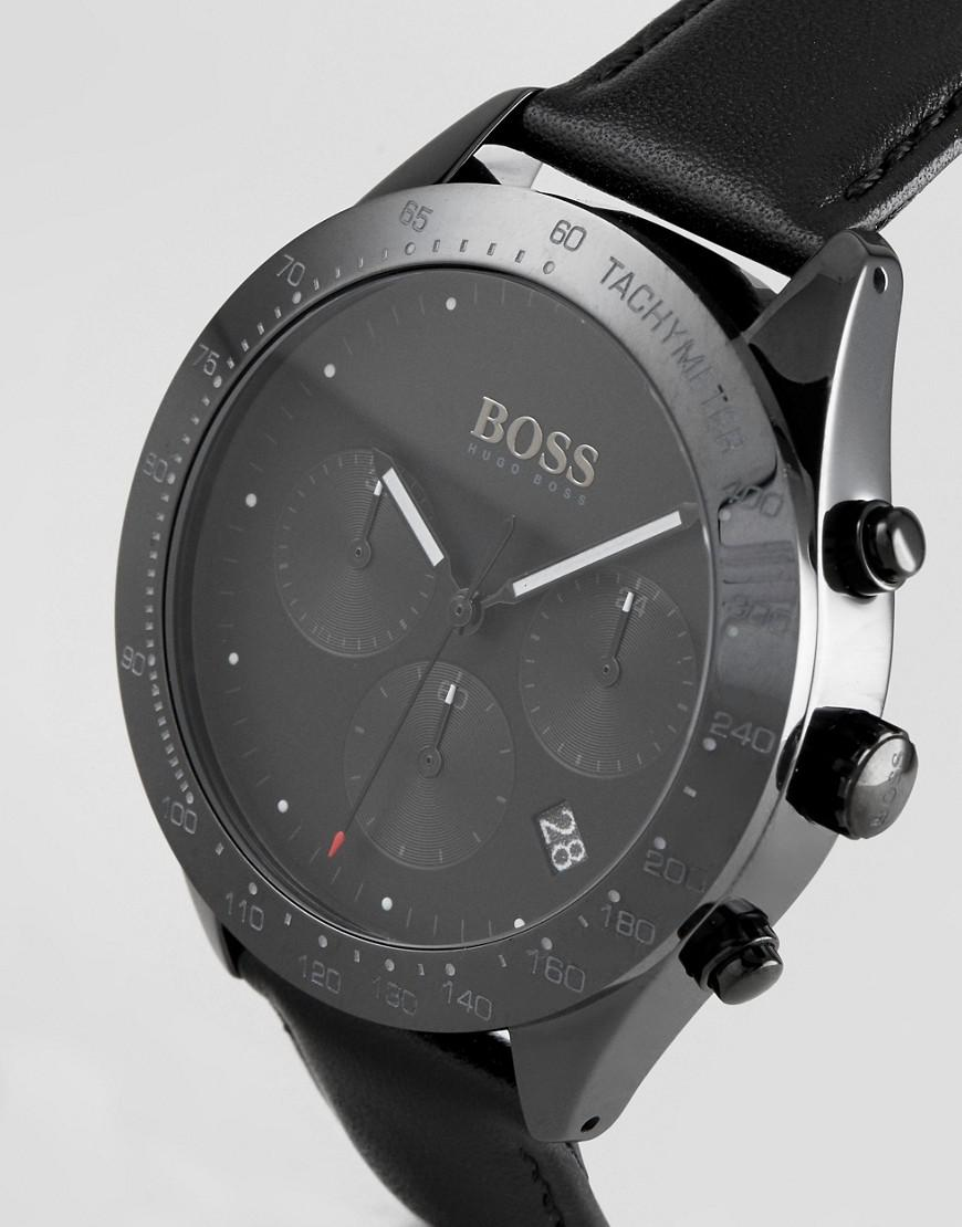 6f163c0c0 BOSS 1513590 Talent Chronograph Leather Watch In Black in Black for ...