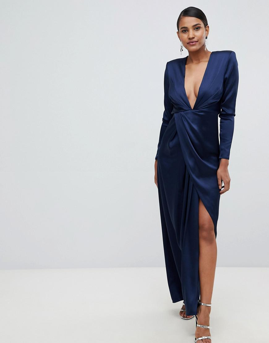 c6c64385b5 Lyst - ASOS Split Side Plunge Maxi In Satin in Blue