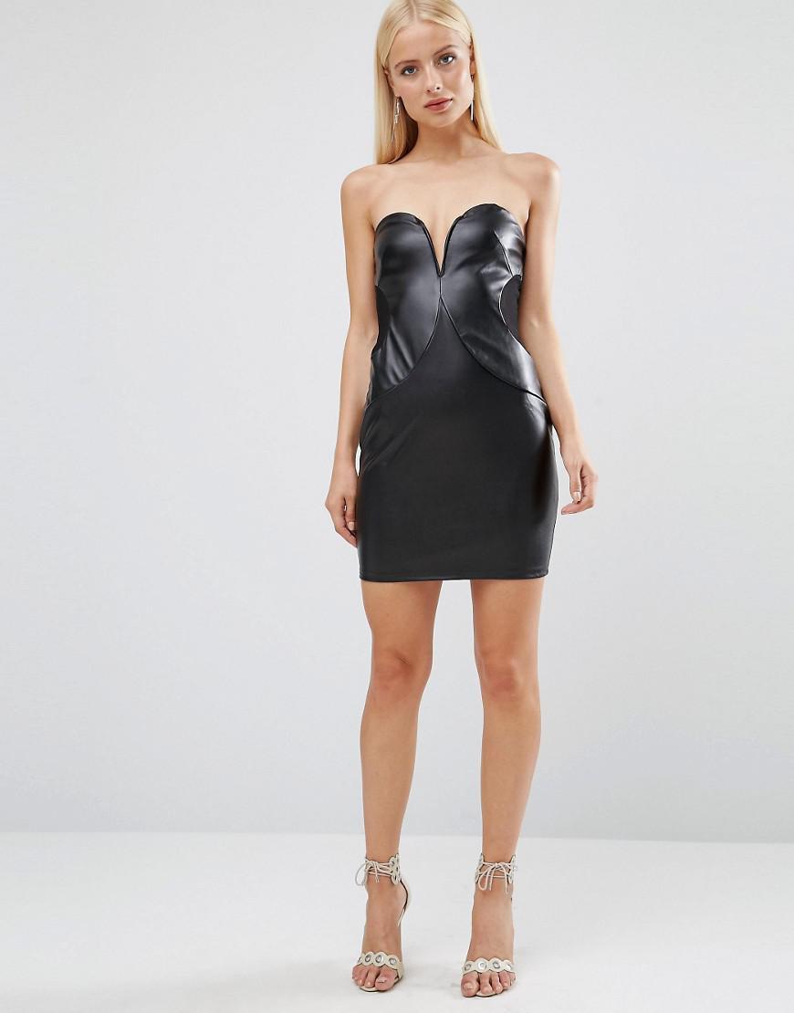 da53f1bc17 Lyst - TFNC London Pu Boobtube Dress in Black