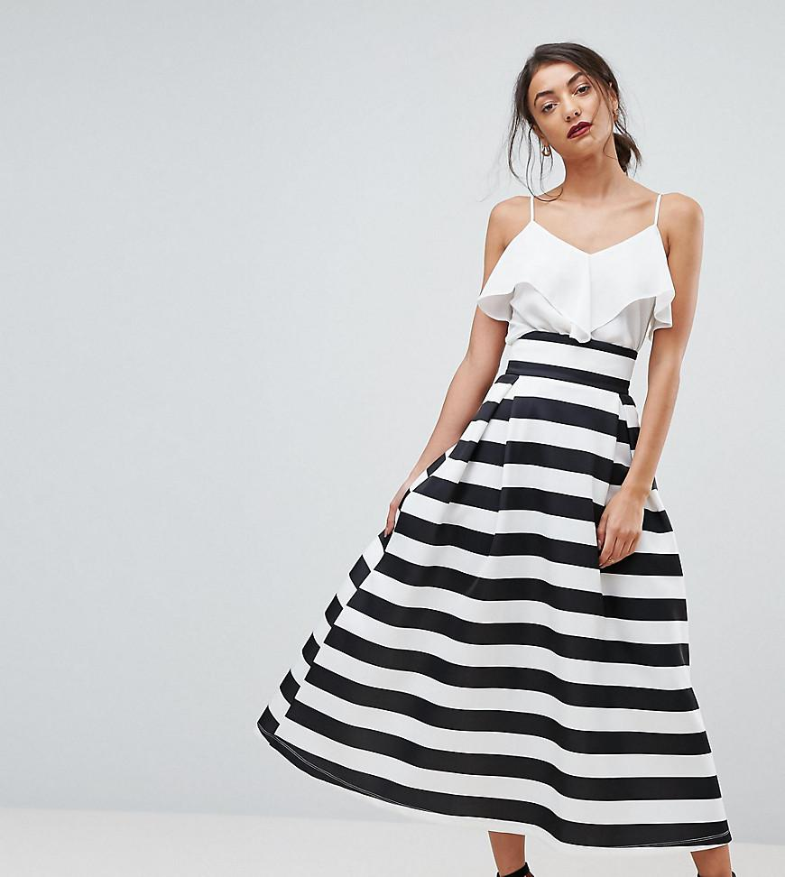 9ea59f6a1a ASOS High Waisted Scuba Midaxi Prom Skirt In Stripe in Black - Lyst