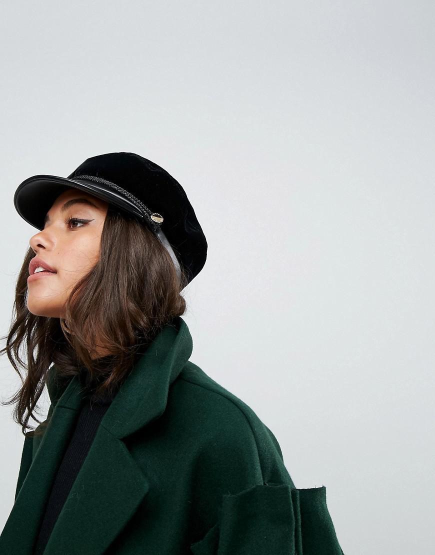 Lyst - Ivyrevel Velvet Baker Boy Hat With Pu Trim in Black 7d7d06699a4