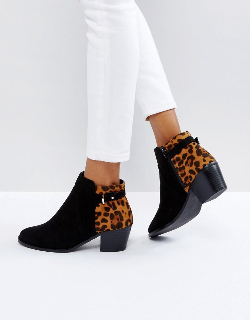 29672790b7ba8 Lyst - Dune Head Over Heels Pascalle Leopard Print Ankle Boots in Black
